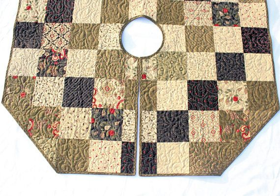 Rustic Christmas Tree Skirt Quilt - 43 inch Primitive Country Tree