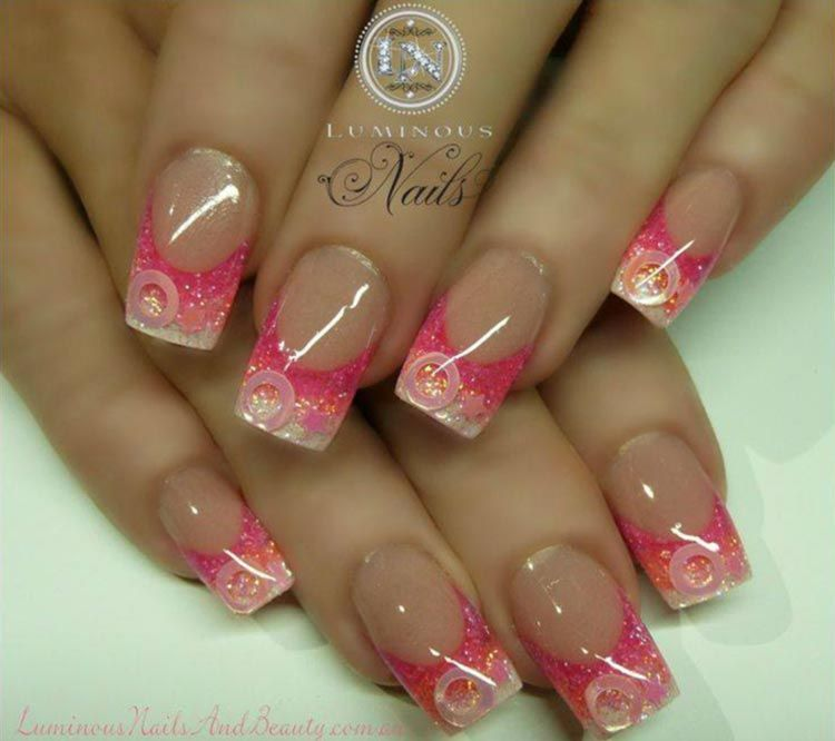 pink glitter gradient french nails | Nail Art | Pinterest | French ...