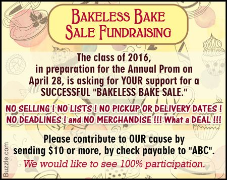 bakeless bake sale invite