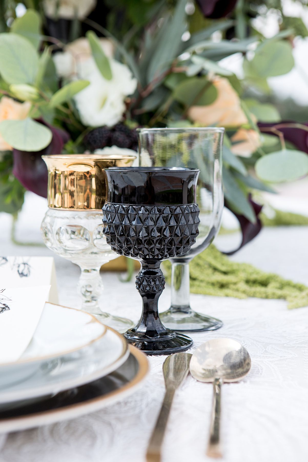 black and gold wedding goblets