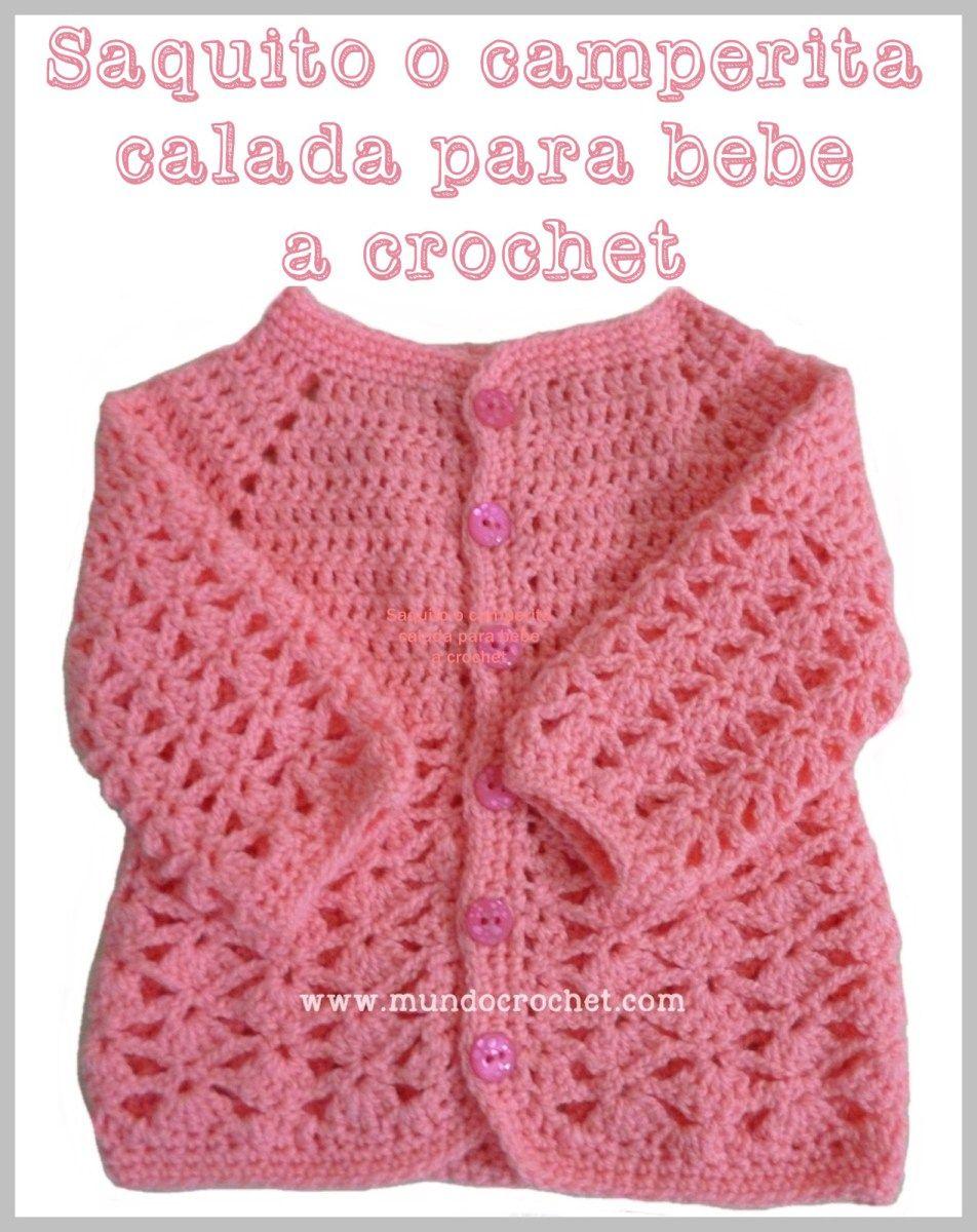 Patrón: Saquito o camperita calada para bebé a crochet o ganchillo ...