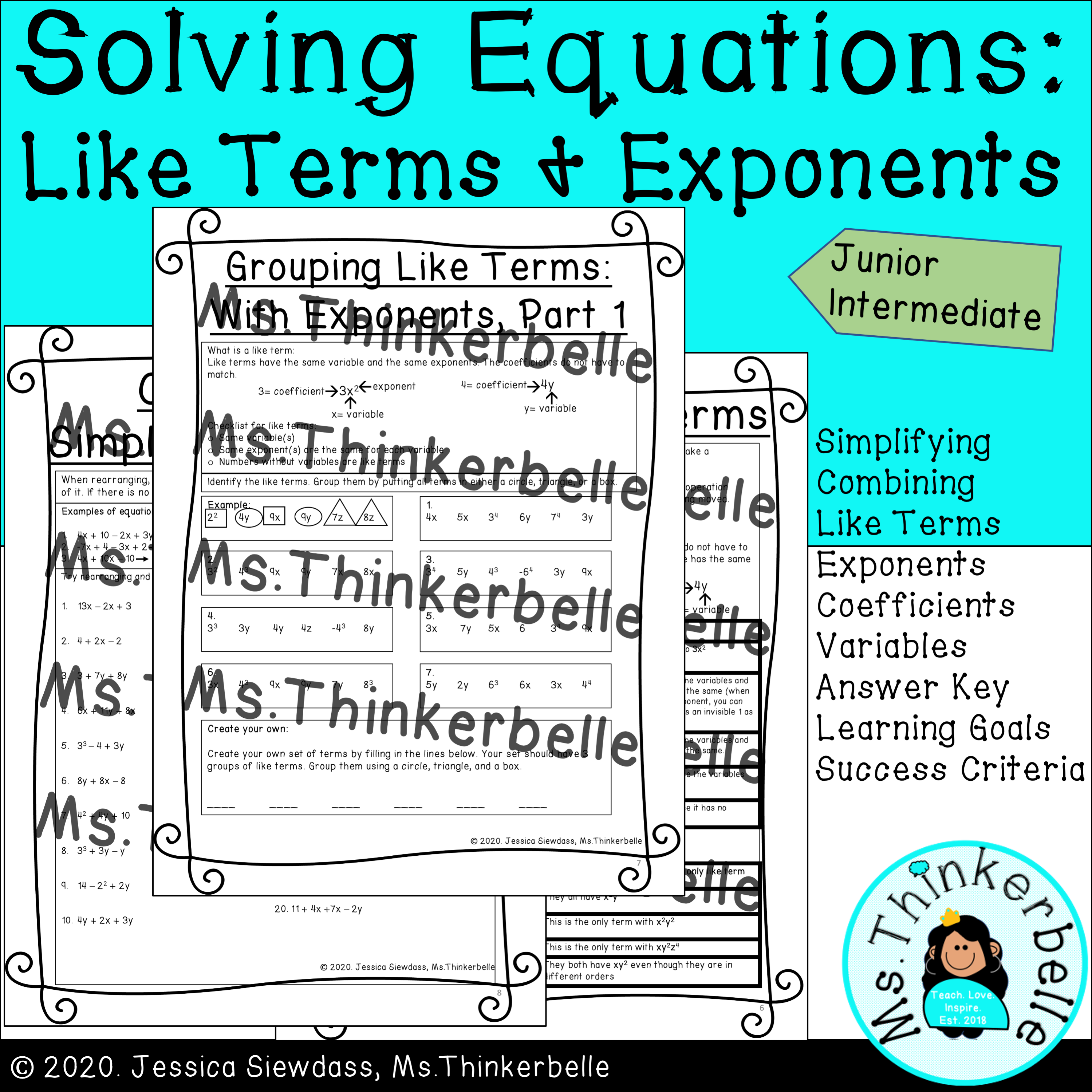 Solving Equations Like Terms And Exponents Junior