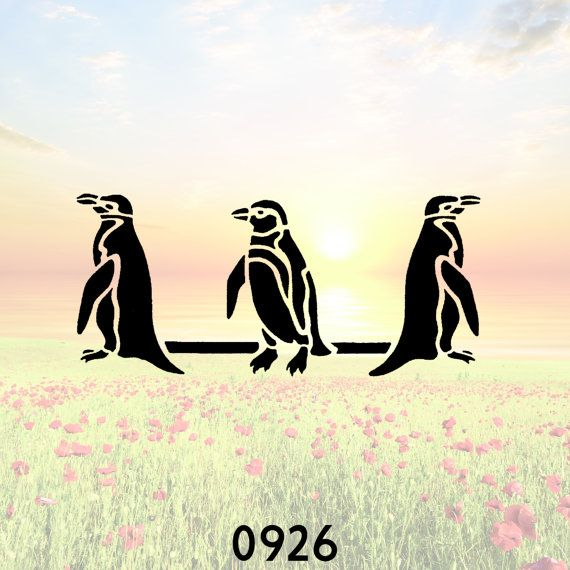 Three Penguins Stencil or Wall Decal DIY by PrintOnAnything