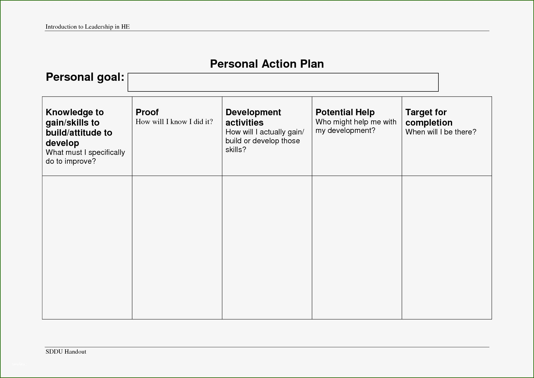 17 Fine Personal Action Plan Template 2020 in 2020