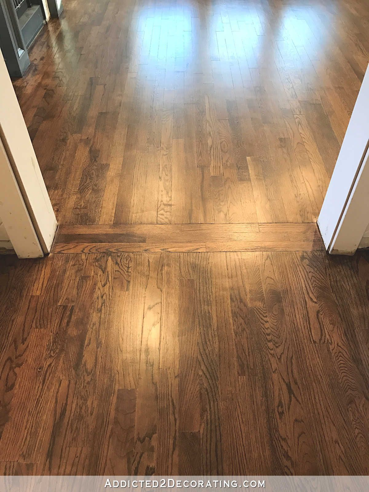 Love This Transition Red Oak Hardwood Floors Refinished With Minwax 50 50 Mix Of Dark Walnut And Special Red Oak Hardwood Red Oak Hardwood Floors Oak Hardwood