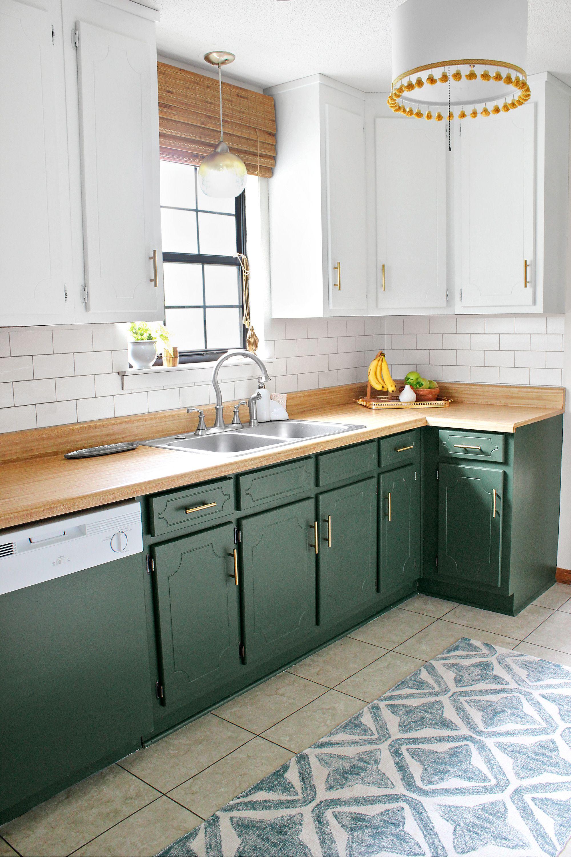 Two Tone Kitchen For 125 Diy Kitchen Renovation Green Kitchen Cabinets Kitchen Renovation