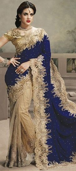 Beige and Brown, Blue  color family Bridal #Wedding Sarees in  with matching unstitched #blouse.