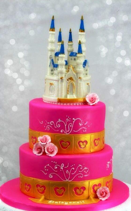 pretty a pink castle cake