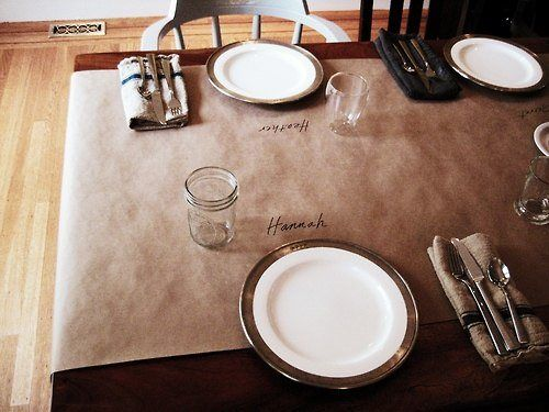 butcher paper table runner with burlap down the middle and a white pumpkin setup & butcher paper table runner with burlap down the middle and a white ...