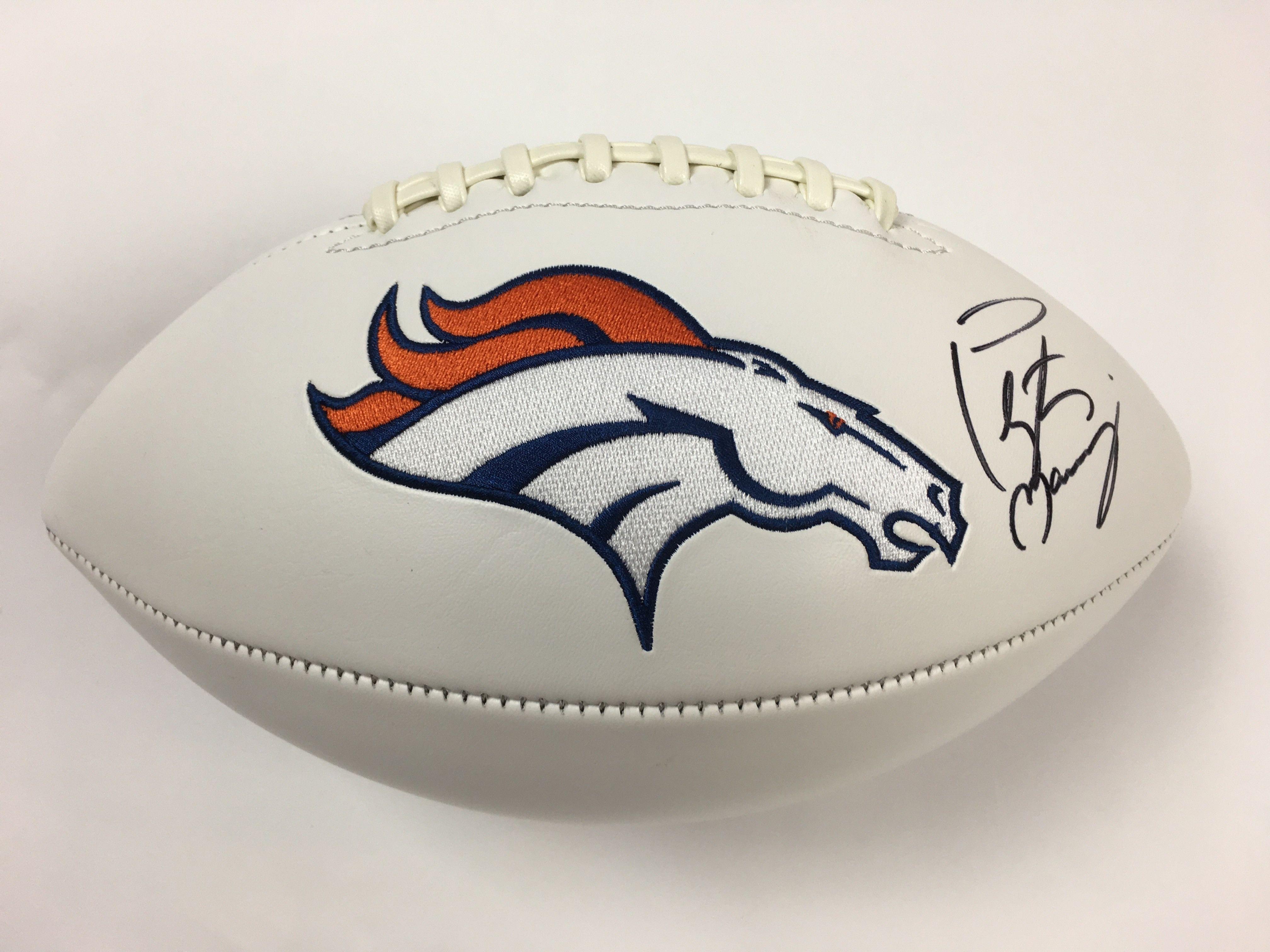 Manning Signed Denver Broncos Logo Football