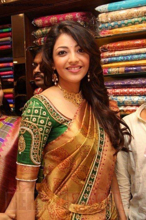 Kajal Aggarwal Aka Kajal Agarwal Photos Stills Images Silk Saree Blouse Designs Green Blouse Designs Blouse Designs Indian