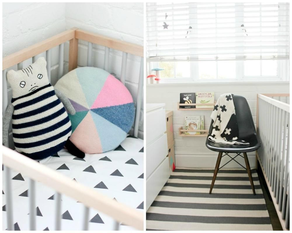 Amusing Baby Boy Nursery Room Design With Black White Striped Rug On Floor Including Shades Window
