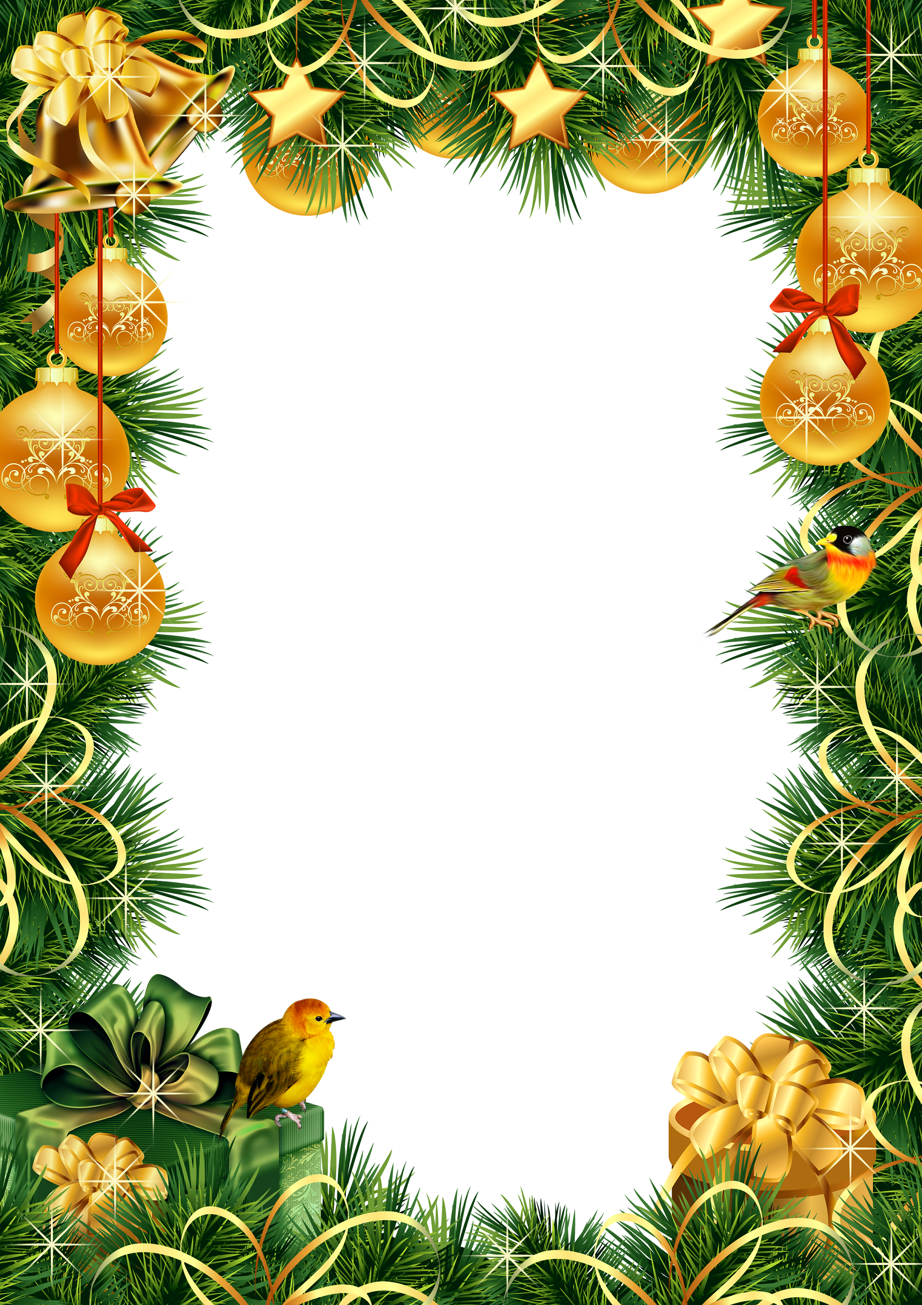 Christmas photo frame with ornaments and pine | Clip Art Holiday ...