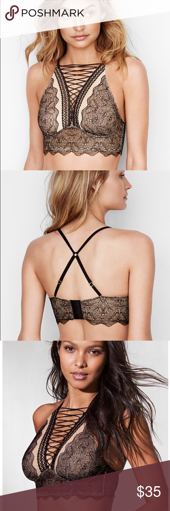 🆕 Victoria's Secret Lace-Up Bra A front lace-up on the high neck makes this sheer lace bra even more captivating, with a flexible, ultra-comfortable underwire.  Lift & Lining * Unlined * Flexible underwire cups for ultimate comfort Straps & Hooks * Adjustable straps * Back closure * Triple row of hook-and-eye closures Details & Fabric * Front lace-up  * Imported nylon/spandex Victoria's Secret Intimates & Sleepwear Bras