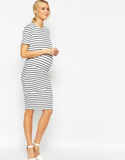 f09e3d40f1c41 Image 4 of ASOS Maternity NURSING Double Layer Body-Conscious Dress In  Stripe With Short