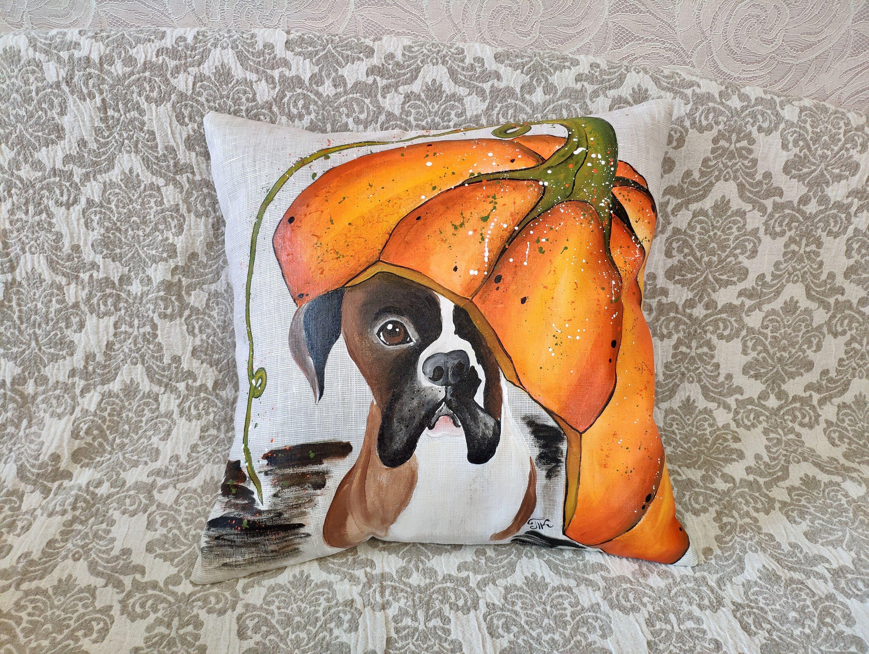 Custom Pet Pillow Cover Handpainted Fall Decor Halloween