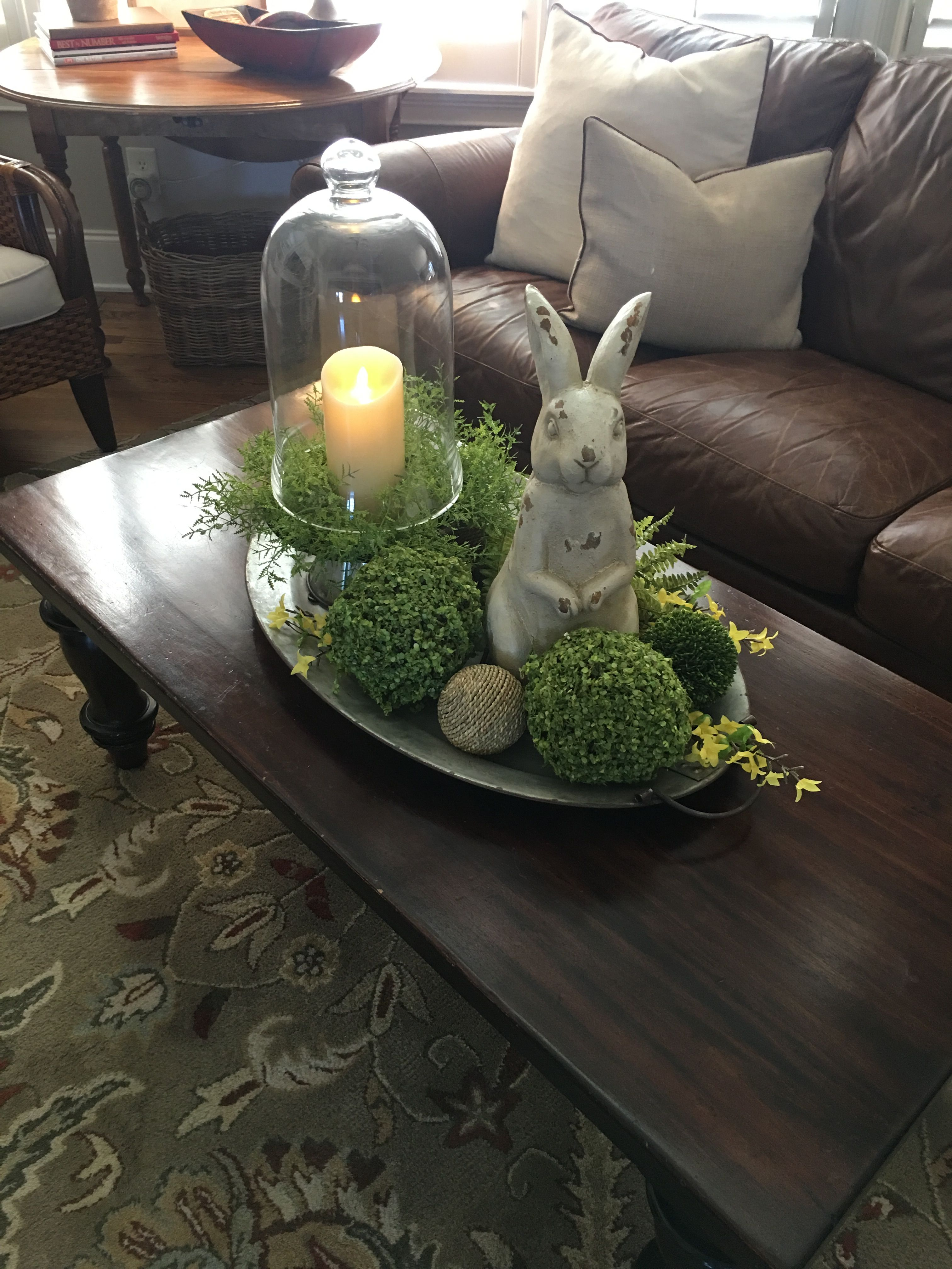 Coffee Table Tray I Made For Spring Spring Table Decor Spring Easter Decor Easter Decorations Dollar Store