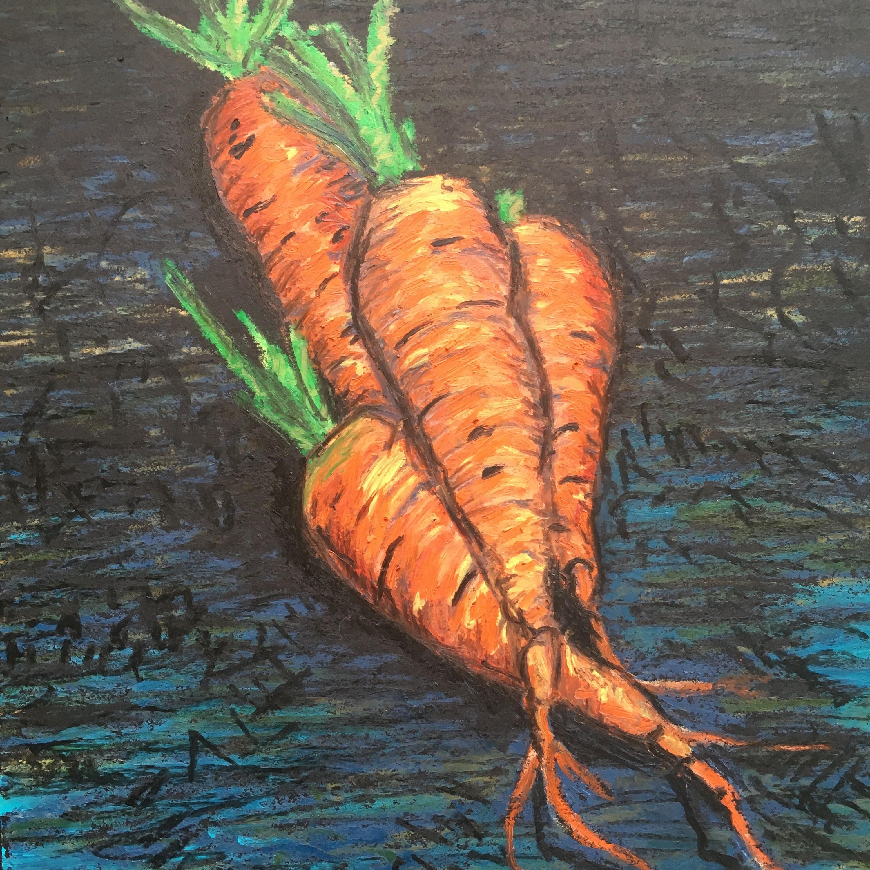 Rainbow landscape original oil pastel drawing - Original Art Spring Carrots Oil Pastel Painting Of The First Carrots Of Spring