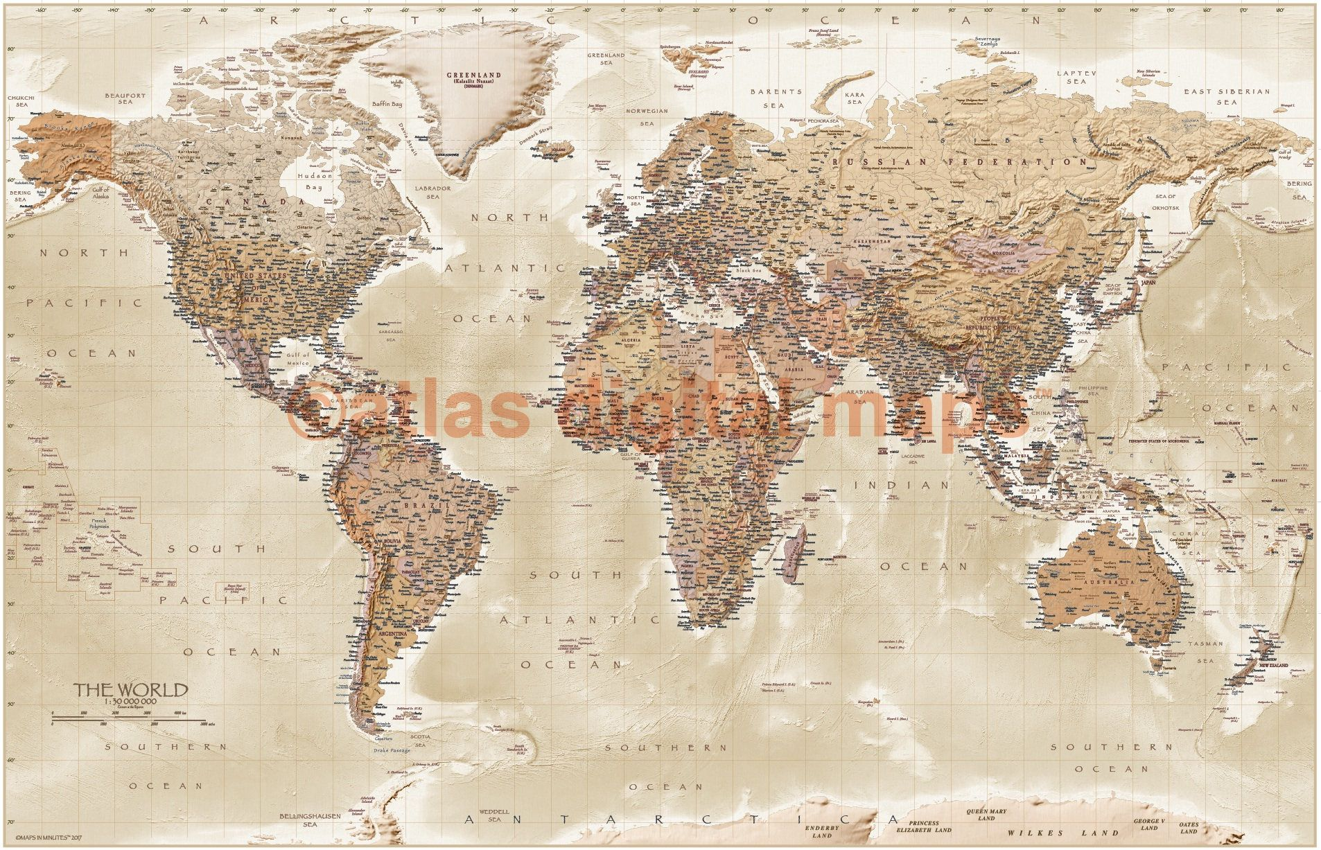 Canvas World Map Canvas Antique Vintage style Map of the World
