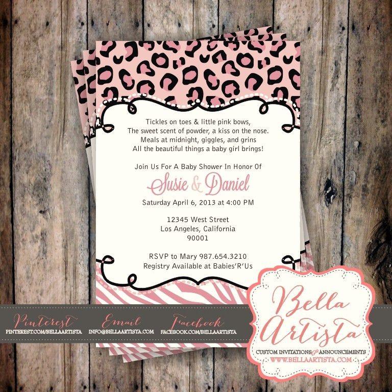 Pink Cheetah or Leopard Print & Zebra Baby Shower Invitation