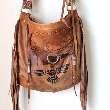 Fringed Lwarm Brown Leather Tribal Eagle Aztec Navajo Purse Southwestern Motorcycle Bag Motor Bike