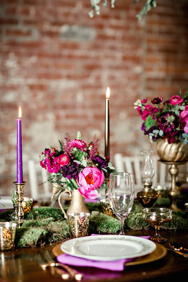 Sophisticated Elegance With Pink And Purple And Gold Wedding Decor