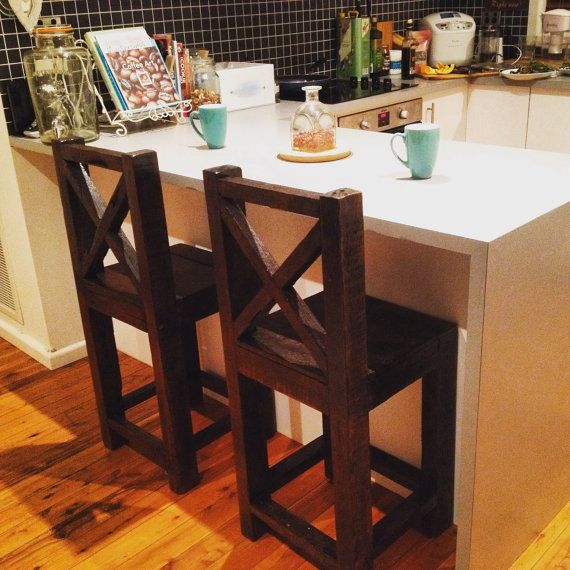 Recycled Reclaimed Hardwood Timber Stools, Rustic