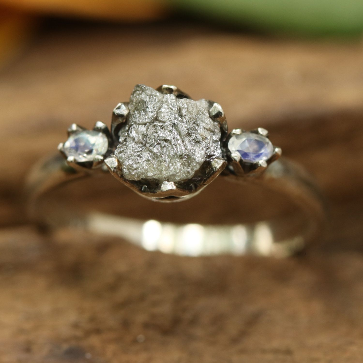 Natural rough diamond ring with tiny oval faceted moonstone side