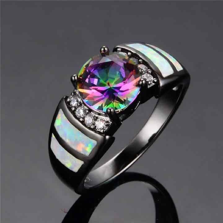 Free Ship Rainbow & Opal Black Gold Ring