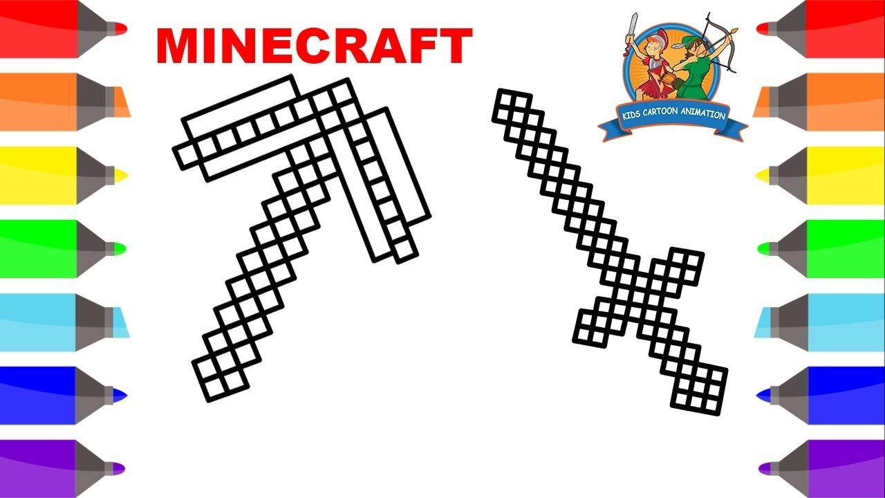 Minecraft Pickaxe Sword Coloring Pages For Kids Minecraft Coloring Pages Kids Cartoon Animat Minecraft Coloring Pages Coloring Pages For Kids Cartoon Kids