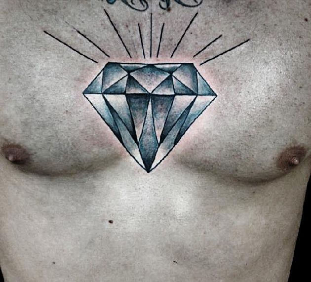 Cool And Shiny Diamond Tattoo On Chest Pure Colors And Nice Design Diamond Tattoos Diamond Tattoo Designs Tattoos