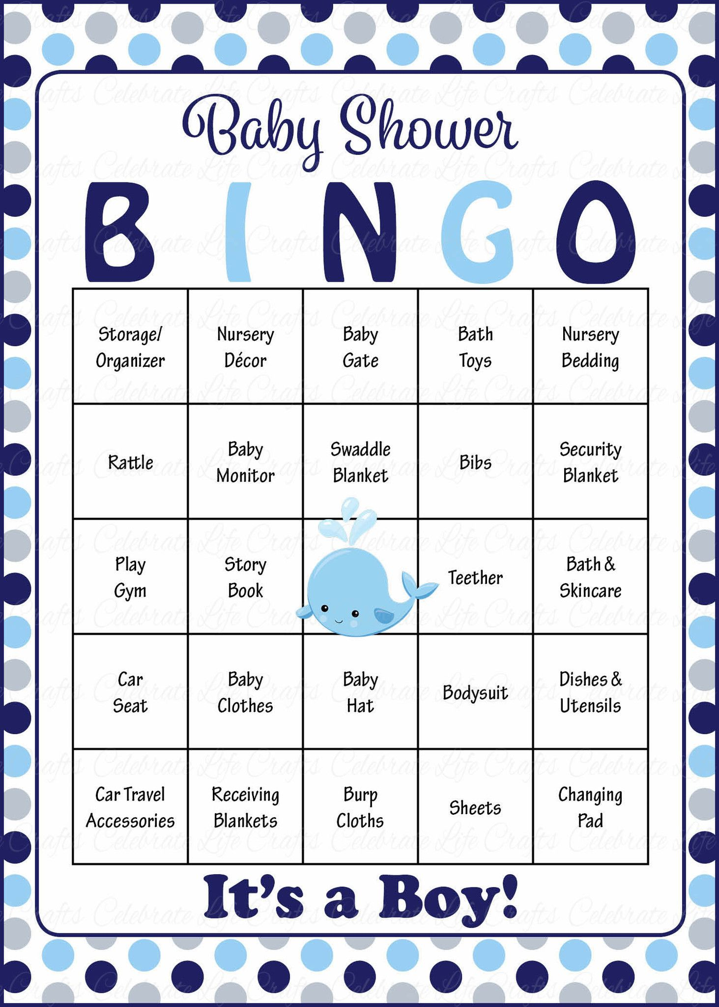 Whale Baby Bingo Cards - Printable Download - Prefilled - Baby Shower Game  for Boy - Navy Gray Polka Dots - B15007