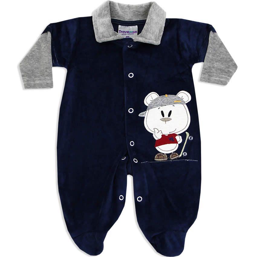 Macacão Longo em Plush Masculino para Bebê Azul - Travessus    764 Kids  14f17ac46c8