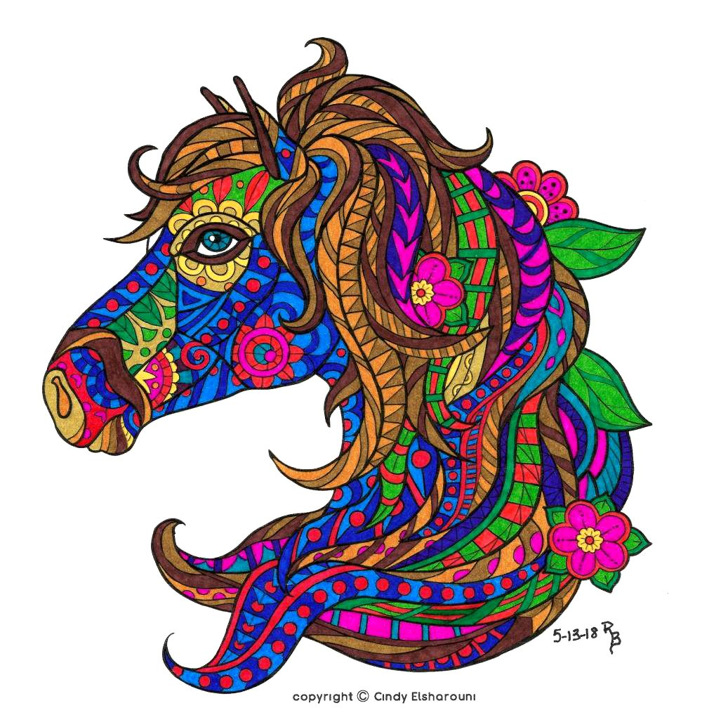 Pin On Horse Lovers Coloring Books [ 1028 x 1000 Pixel ]