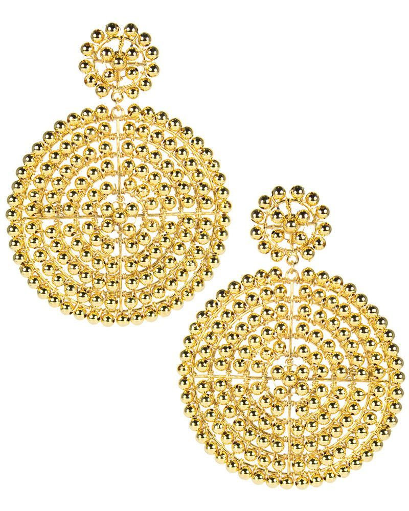 The Gold Disk Beaded Earrings From Fashion Jewelry Designer Lisi Lerch Are Chic And Fun These Disc Perfect Combination Of Style