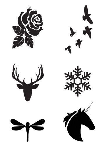 Mini Black Temporary Tattoo Set Tatus Temporales 이상한 나라의
