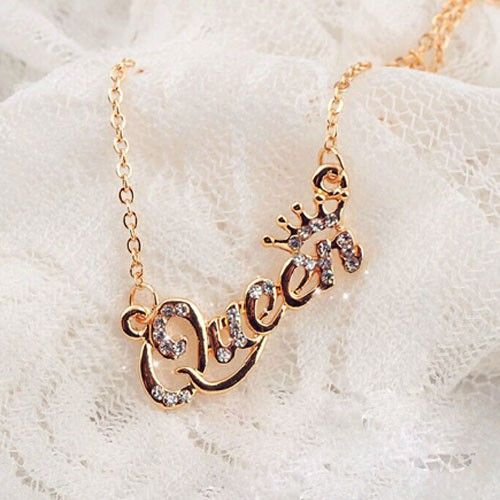 Fashion Bling Rhinestone QUEEN Pendant Necklace - Fashion Necklaces - Fashion Accessories