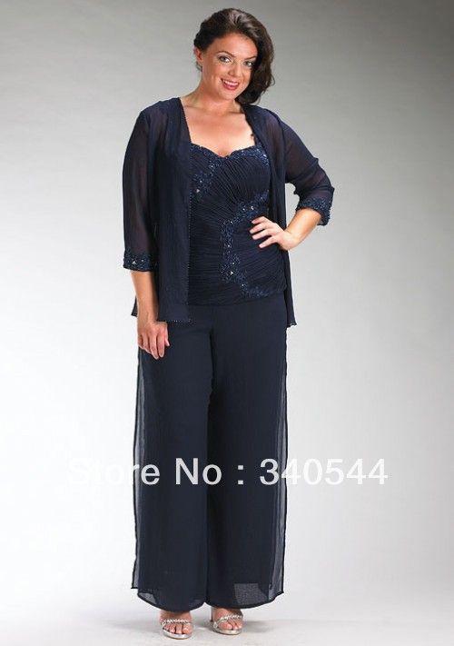 Elegent 3pc Mother of the Bride Pant Suits cbiffon pleat applique ...