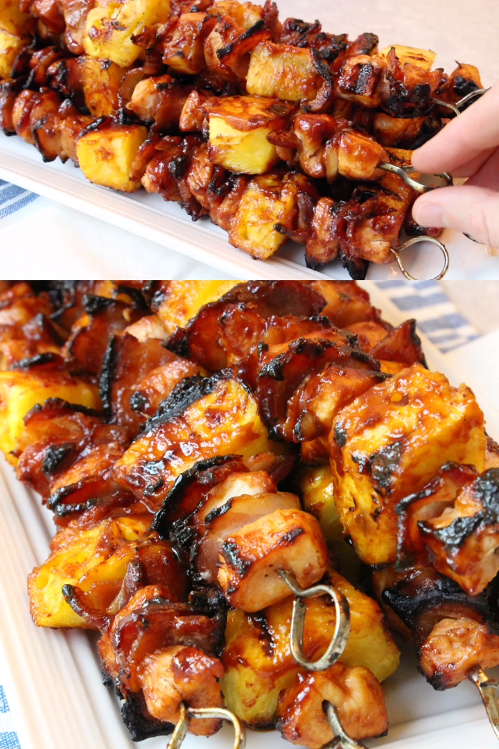 BBQ Chicken Kabobs with Bacon & Pineapple