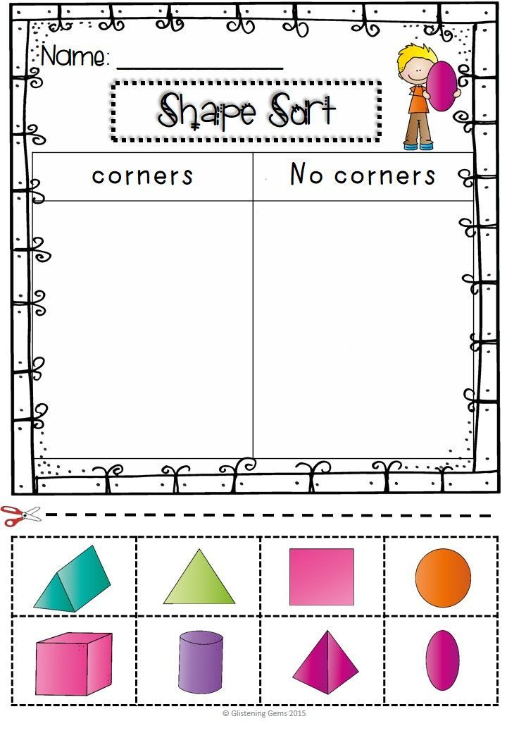 Pin On School Activitys Sorting shapes kindergarten worksheets