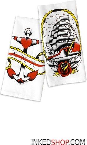 Anchor and Ship Towel Set