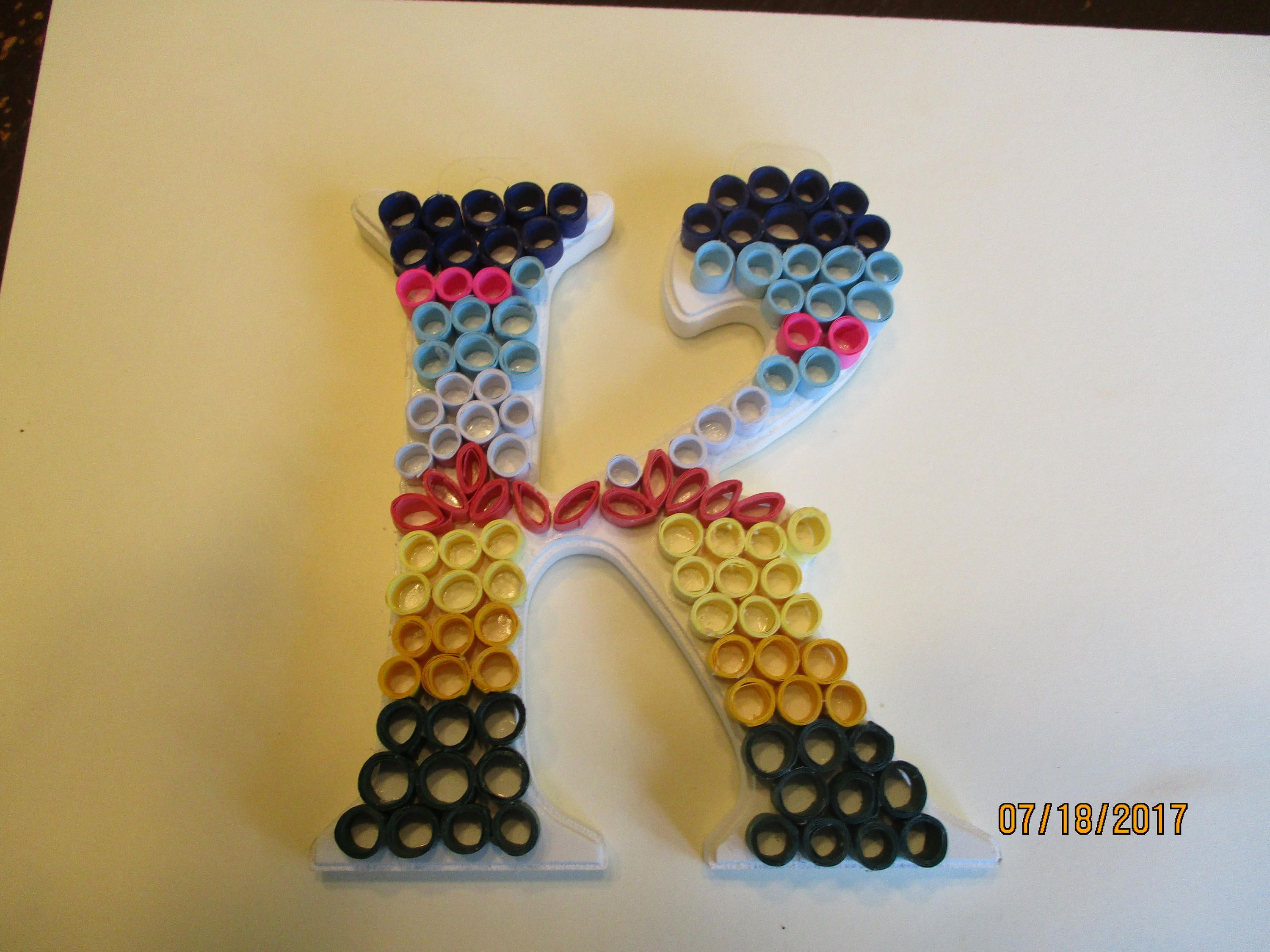 letter K, decorated letter K, quilled monogram, quilled wall decor ...