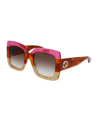 c871bfa910d Glittered+Gradient+Oversized+Square+Sunglasses