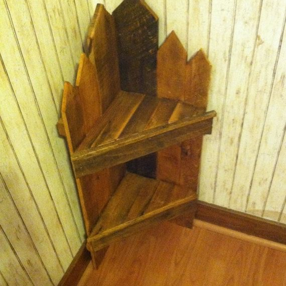 Rustic Corner shelf Country Style by CurcioWoodCrafting on Etsy