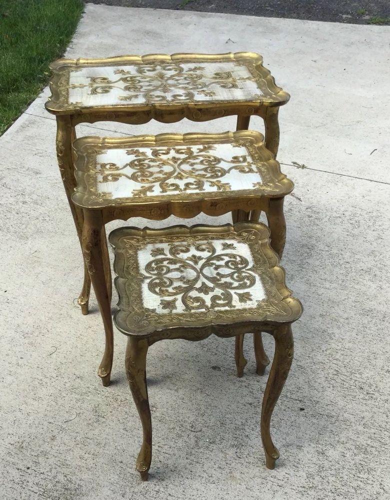 3Mid Century Hollywood Regency Gold Plastic Gilt Florence