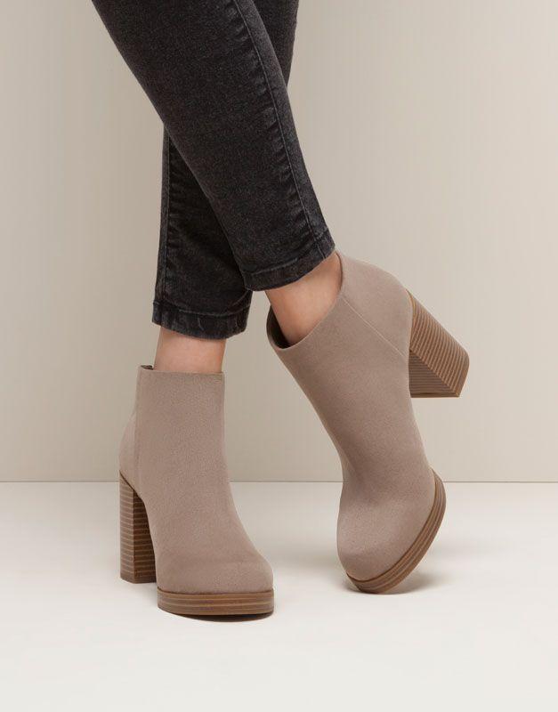 super popular d5681 6ee44 Pull Bear - mujer - zapatos mujer - botín tacón cremallera - piedra -  15255011-I2015