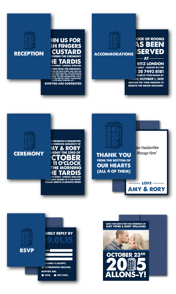 Doctor who wedding invitations offbeat bride weddings and wedding doctor who wedding invitations from the sweetheart shout out offbeat bride stopboris Image collections