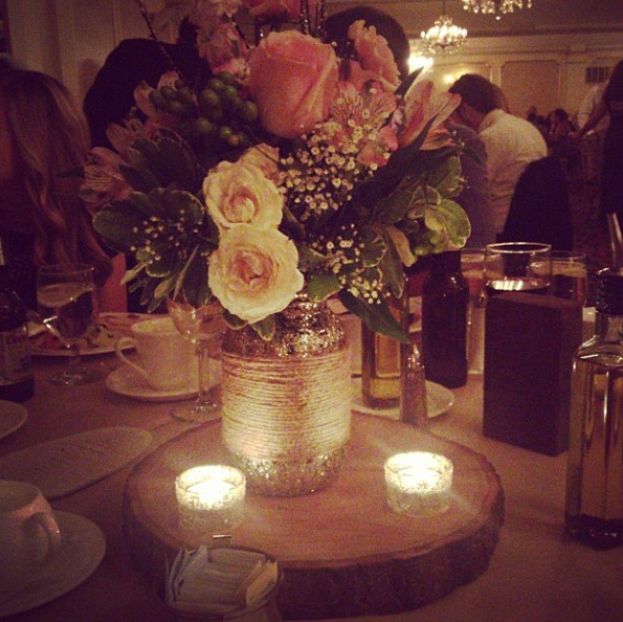 Wedding Centerpiece Mason Jars With Glitter And Jute On An Oak