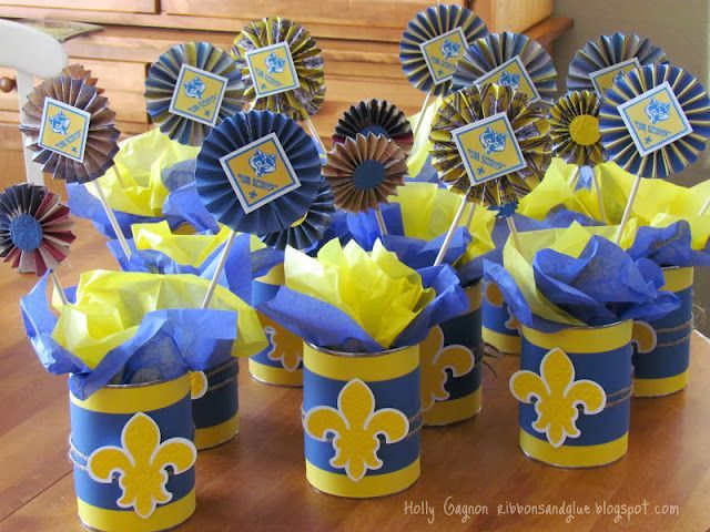 Cub Scout Blue And Gold Banquet Centerpieces Visit Ribbonsandglue