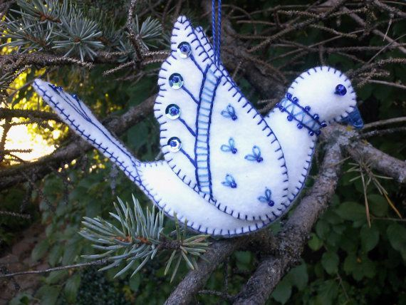 White and Blue Wool Felt Dove Ornament, Wool Felt Bird Ornament, Embroidered Bird, Hanukkah Decoration #feltbirds